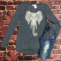 Crochet Elephant Top: Blue
