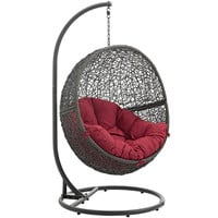 Hide Outdoor Patio Swing Chair Gray Red