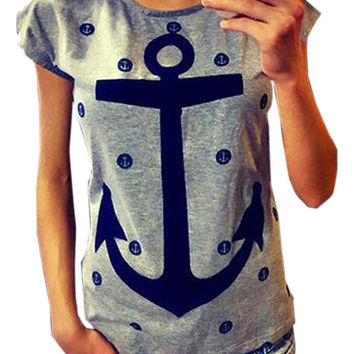 Anchor Print Cap Sleeve Casual T Shirt From Jex Boutique