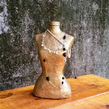Vintage Golden Paper Mache Mannequin Bust Form Jewelry Display