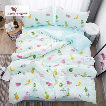 SlowDream Flamingos Bedding Set Nordic Bedspread Comforter Luxury Duvet Cover Double Sheets Twin Queen King Green Bed Linen Set