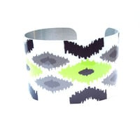 Neon and Gray Cuff Bracelet  Modern Style Made of Nickel Free Aluminum