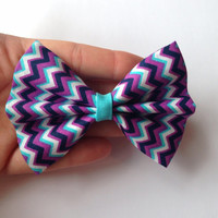 Purple and Blue Chevron Fabric Hair Bow on Alligator Clip - 3.5 Inch Wide