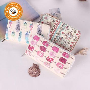 BONAMIE 2017 New High Quality Modern Women Leather Clutch Long Wallet Brand Printing Fruit Feather Carton Purse Card Holder