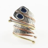 Sapphire Three Tone Sterling Silver Adjustable Leaf Wrap Ring