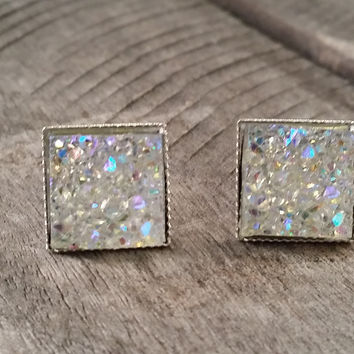 Druzy earrings-  Rainbow clear chunky square drusy silver tone stud druzy earrings