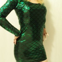 green fish scale mermaid little dress size small mjcreation