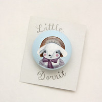 Little Dorrit wooden hand painted rabbit brooch Original