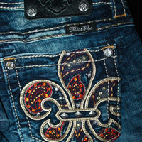"$108 MISS ME JEANS ""JEWEL COLORED FLEUR DE LIS"" BOOT CUT"