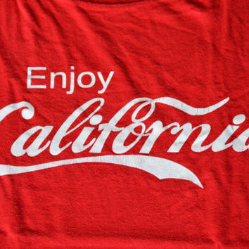 80s Enjoy California - Vintage Red Funny Cotton T-shirt Size L Large