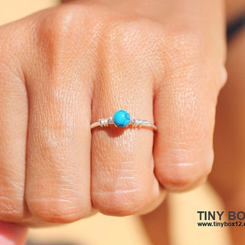 Natural Stone Ring - Delicate Turquoise Ring - Dainty Ring Turquoise - Statement Ring - Ring Simple - Skinny Ring Stacking - Stack Ring