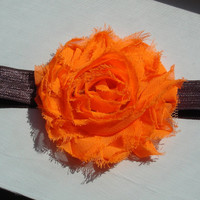 Baby Orange Headband...Fall Headband Orange Flower on Brown Black or White Elastic