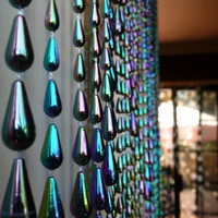 Iridescent Black Raindrop Beaded Curtain -- Mardi Gras Colors