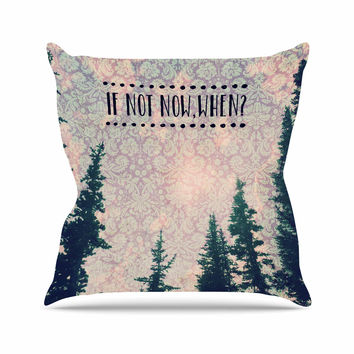"Robin Dickinson ""If Not Now, When?"" Tree Typography Outdoor Throw Pillow"