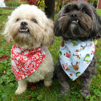 Christmas Dog or Cat Bandana - Red or blue, snowmen, reindeer and santa