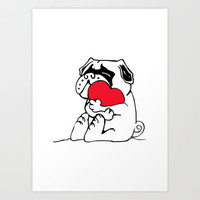 Pug Heart Art Print by Huebucket