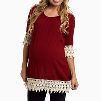 Burgundy-Crochet-Trim-Linen-Tunic