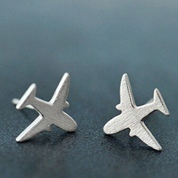 Womens Old Sterling Silver Aircraft-shaped Ear Studs Earrings + Gift Box-05