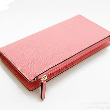 Genuine Saffiano Leather Women's Handmade Wallet Card Slot Organizer Peach Pink
