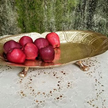 Modernist Large Brass Hand Hammered Footed Tray Shallow Oval Bowl