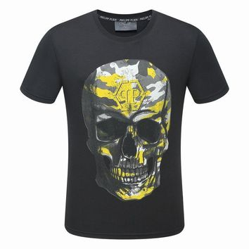 Philipp Plein Black White Yellow Skull Men T-Shirt