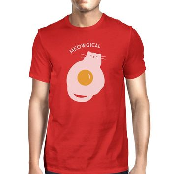 Meowgical Cat And Fried Egg Mens Red Shirt