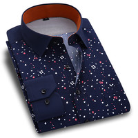 New Spring Men Casual Shirts Fashion Long Sleeve Brand Printed Button-Up Formal Business Polka Dot Floral Men Dress Shirt