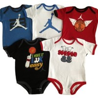 Nike Jordan Infant New Born Baby Bodysuit Layette Sets 5 PCS and Cell Phone Anti-dust Plug (0-3 MONTHS)