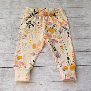Baby Leggings, Floral Baby leggings, baby girl leggings, newborn girl leggings, flower leggings, infant leggings, toddler leggings, leggings