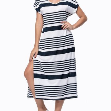 Streetstyle  Casual Loose Striped Deep V-Neck Side Slit Maxi Dress
