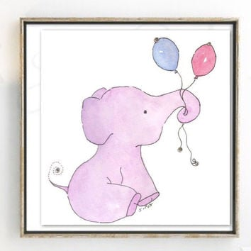 Baby Elephant art, Girl Nursery art watercolor painting,  purple elephant and balloons. Child's room art, not a print.