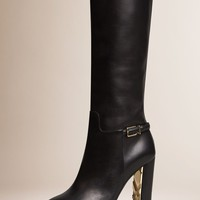 Knee-high Leather Boots Black | Burberry