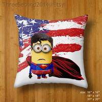 Decorative cushion Cool Funny Cute despicable me minions Superman Clark kent Double Side Pillow Case cover 16 18 20 inch by ThreeSecond2014