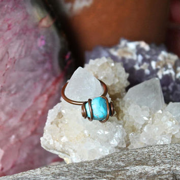 Sleeping Beauty Turquoise Ring - SIZE 6 - Copper Ring - Raw Gemstone Ring - Natural Turquoise Jewelry - Raw Stone Jewelry - Bohemian Jewelry