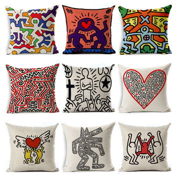 Cushion Pillow Keith Haring Abstract pattern Pillow Case Linen Cotton Cushion Cover Square Pillowcase Throw Pillow Home Decor