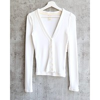Free People - Call Me Cardi Fitted Button Down Cardigan Top - Ivory
