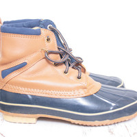 Vintage Sporto Light Brown and Navy Blue Duck Rain or Snow Boots for the Winter and Spring