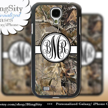 Camo Black Monogram Galaxy S4 case S5 RealTree Tree Camo Peach Personalized Samsung Galaxy S3 Case Note 2 3 Cover Country Girl