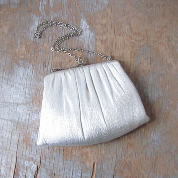 vintage silver purse / 1960s harry levine silver evening bag / silver sparkly clutch
