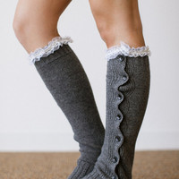 Women's Knitted Solid Body Leg Warmer or Boot Topper with Sweater Knit, Lace Trim, and Wooden Buttons for Stocking Stuffers in Light Gray