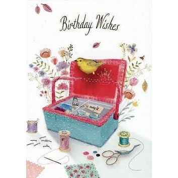 Bird and Sewing Items Birthday Card