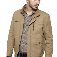 Khaki Pockets Detail Jacket