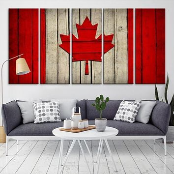 22674 Large Wall Art Canada Flag Canvas Print Watercolor Flag of Canada Canvas Print Modern