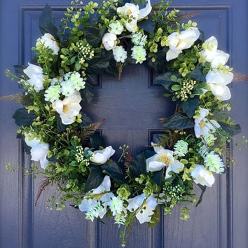 Magnolia Wreath Year Round Door Wreaths Wedding Decor White Magnolia Flowers