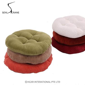 SewCrane Coffee Solid Wood Green Red Corduroy Fabric Japanese Seating Functional Cushion Round Floor Cushion Floor Pillow