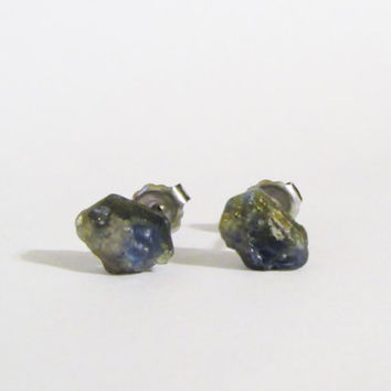 Genuine Sapphire Natural Raw Rough Stone Post Earrings | Blue Studs | SA011 | Natural Sapphire Posts | Christmas Gift | Gemstone Earrings