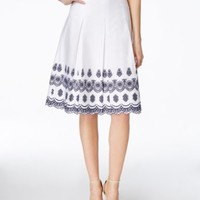 Charter Club Petite Pleated Embroidered Skirt, Only at Macy's | macys.com
