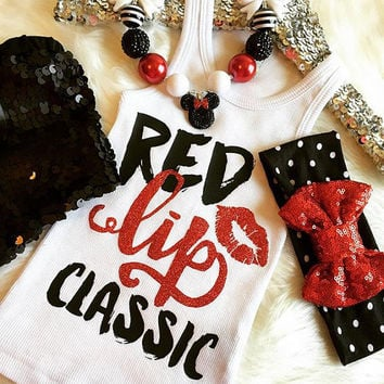 Red Lip Classic Shirt Tank White & Gold Baby Girl Shirt Girl's Birthday Shirt Gold birthday Shirt Clothes Baby Gift White And Gold #81