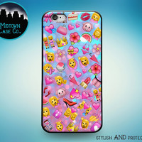 Pink Emoji Pattern Collage All the Pink Emoticons Cute Pretty Sassy Girl Awesome Cool Fun Rubber Case for iPhone 6s 6 Plus iPhone 6 5s 5 5c