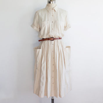 Vintage 90s Woven Cotton Country Dress with Pockets | large